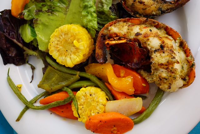 Lobster with grilled veggies and salad