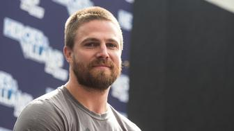 LONDON, ENGLAND - MAY 28:  Stephen Amell is interviewed on day two of Heroes and Villians Convention at Olympia London on May 28, 2017 in London, England.  (Photo by Lorne Thomson/Getty Images)