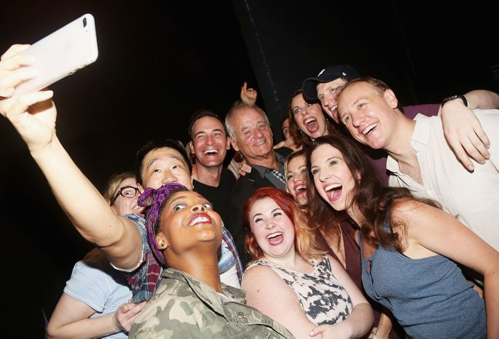 Bill Murray takes a selfie with the cast.