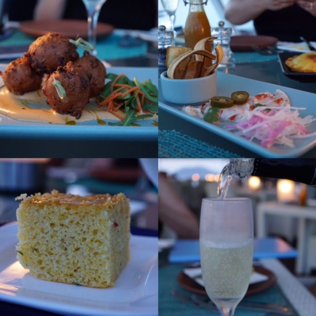 Lobster fritters, ceviche, corn bread and prosecco from Mango