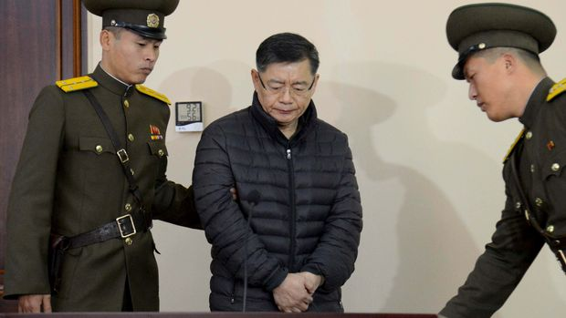 FILE PHOTO - South Korea-born Canadian pastor Hyeon Soo Lim stands during his trial at a North Korean court in this undated photo released by North Korea's Korean Central News Agency (KCNA) in Pyongyang, North Korea on December 16, 2015.   REUTERS/KCNA/File Photo  ATTENTION EDITORS - THIS IMAGE WAS PROVIDED BY A THIRD PARTY.    SOUTH KOREA OUT. NO COMMERCIAL OR EDITORIAL SALES IN SOUTH KOREA