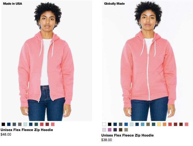 You can buy an American-produced hoodie for $48, or one made in an international factory for $38.