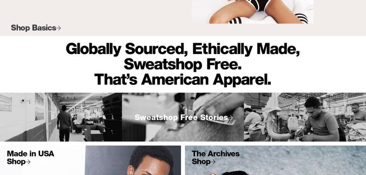 """Globally sourced, ethically made, sweatshop free. That's American Apparel,"" is a new tagline for what formerly <i>was</i> American apparel.&nbsp;"