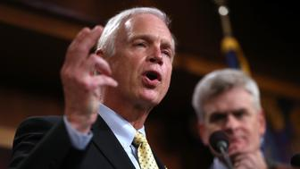 WASHINGTON, DC - JULY 27:  U.S. Sen. Ron Johnson (R-WI) speaks during a news conference to announce opposition to the so-called skinny repeal of Obamacare at the U.S. Capitol July 27, 2017 in Washington, DC. The Republican senators said they would not support any legislation to repeal and replace Obamacare unless it included a guarantee to go to conference with the House of Representatives.  (Photo by Justin Sullivan/Getty Images)