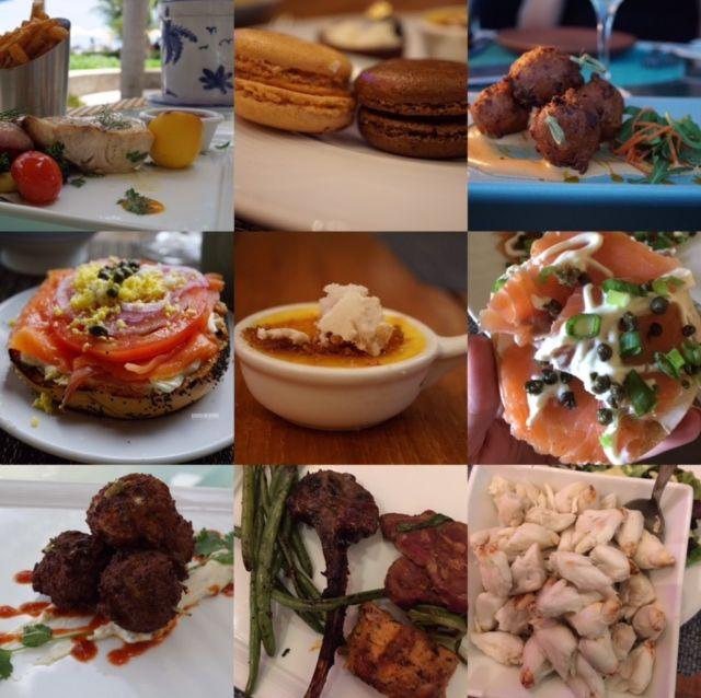 Some of the dishes eaten from the restaurants inside Four Seasons Resort Nevis