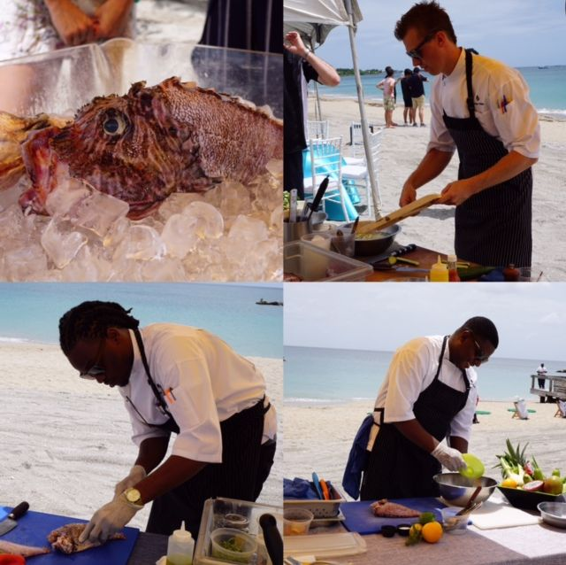 Lion fish cooking demonstration