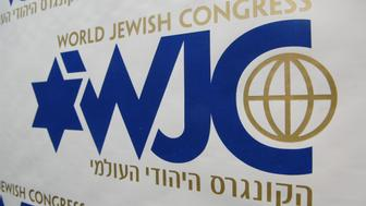 Brussels, BELGIUM: A close up of the logo of the World Jewish Congress taken 26 June 2007 during a press conference following a meeting of the organization in Brussels. AFP PHOTO/ BELGA PHOTO / HERWIG VERGULT (Photo credit should read HERWIG VERGULT/AFP/Getty Images)