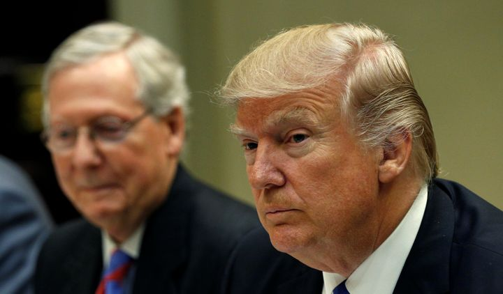 President Trump has mostly avoided publicly clashing with Senate Majority Leader Mitch McConnell (R-Ky.), at left.
