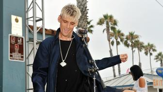 OCEANSIDE, CA - JULY 30:  Aaron Carter performs at the Supergirl Pro Concert Series in Oceanside, CA at The Strand on July 30, 2017 in Oceanside, California.  (Photo by Jerod Harris/Getty Images)