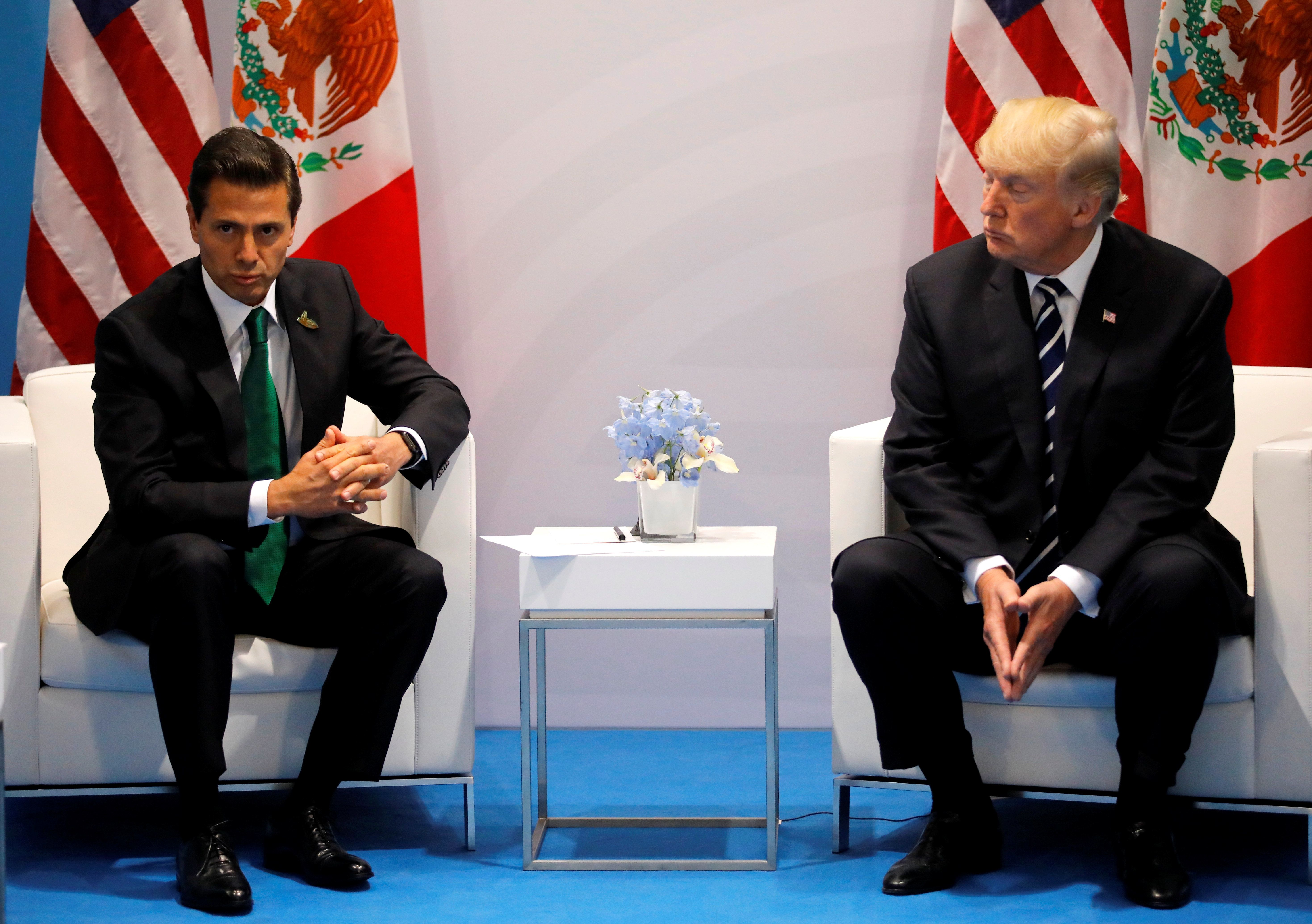 This isn't an uncomfortable looking picture of Presidents Donald Trump and Enrique Pena Nieto.