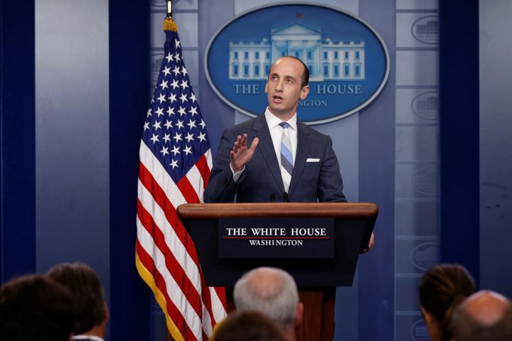 White House senior policy adviser Stephen Miller discusses the Trump administration's immigration policy at a news briefing A