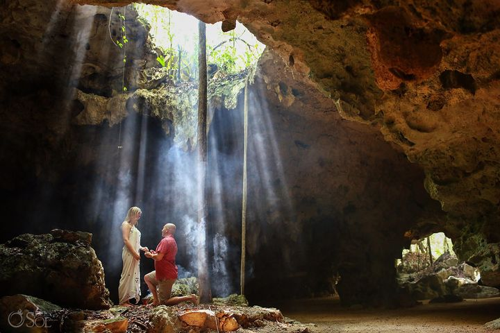 The cave was a stunning backdrop for the proposal.