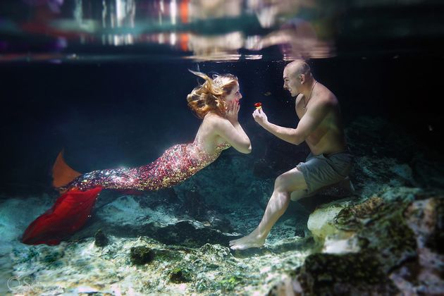 Using Photoshop, the photographercloned the sequins on the tail to create a full mermaid effect...
