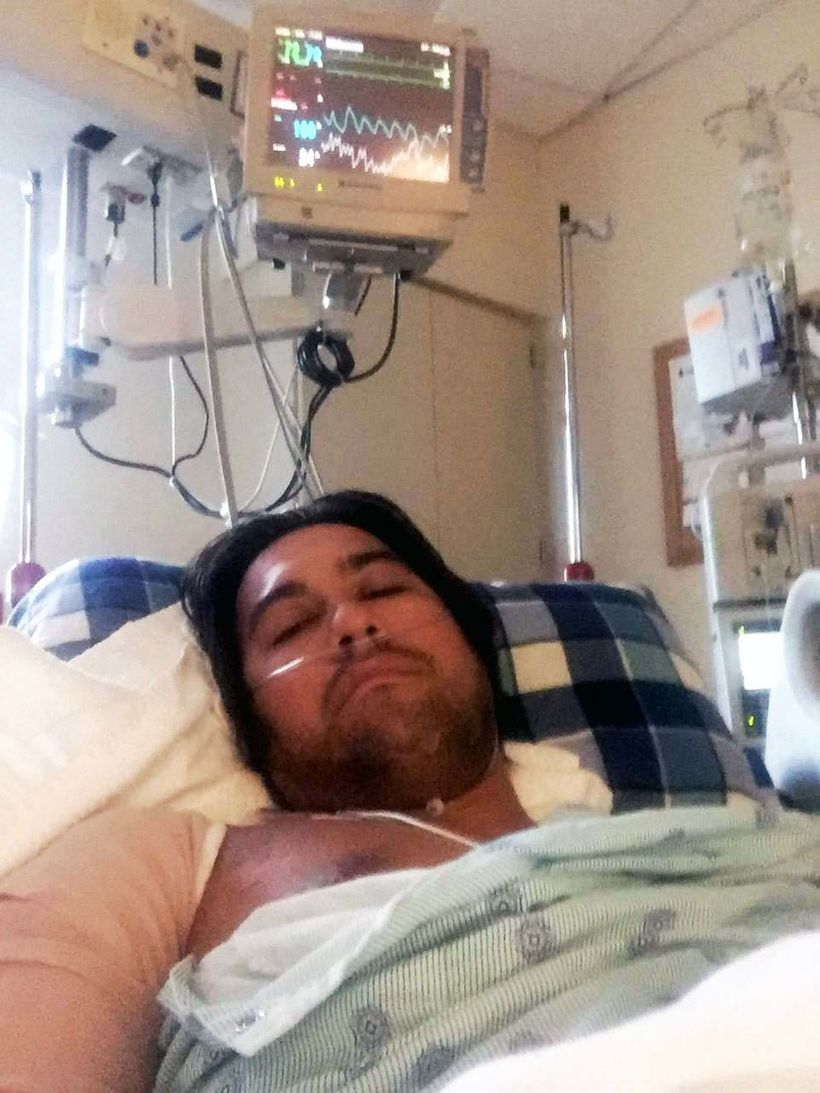 American Kawika Matsu in Florida ICU on July 30, 2017. This photo appeared with the first Facebook post by Kawika, quoted in