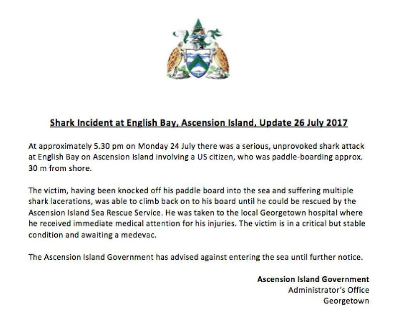 Updated information on the shark attack on Kawika Matsu, issued in a Public Notice by The Ascension Island Government on July