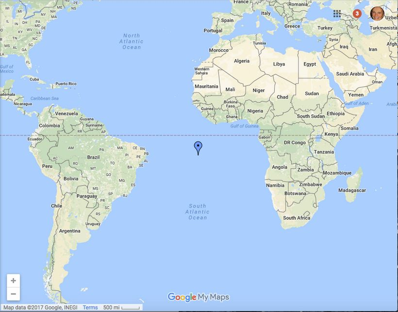 Location of Ascension Island, between Brazil and Africa - a long distance from the Florida hospital in which Kawika Matsu is