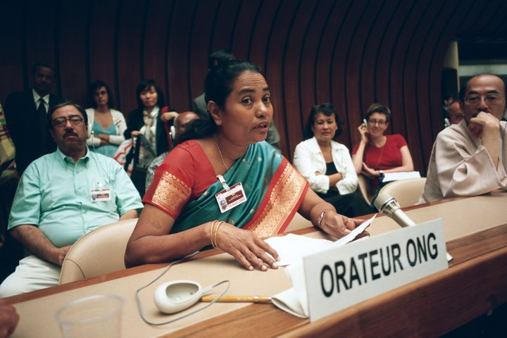 Ms. Nevis Mali from India at UNCHR Sub-commission on August 5, 2005. She has recovered from the disease.