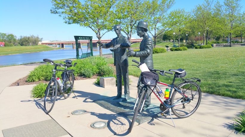 Statues of the Wright Brothers along the  bike trail in Dayton