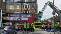 Passengers Trapped When Bus Smashed Into London Shops Rescued By Fire