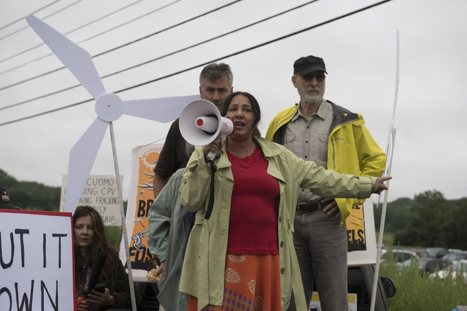 James Cromwell takes part in a protest outside the CPV Power Plant site on July 14 in Wawayanda, New