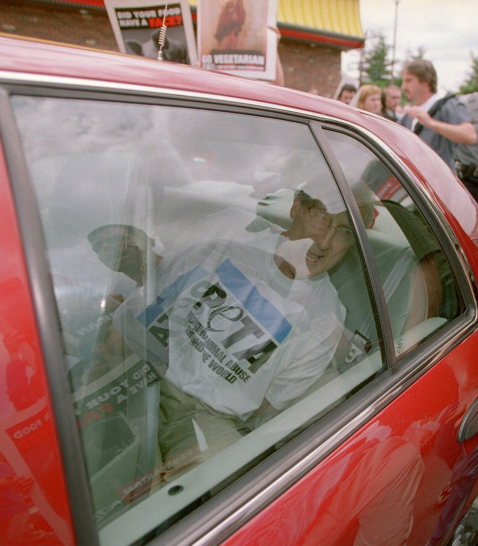James Cromwell sits in an unmarked police car after being arrested on July 3, 2001, during a demonstration at a Wendy's resta