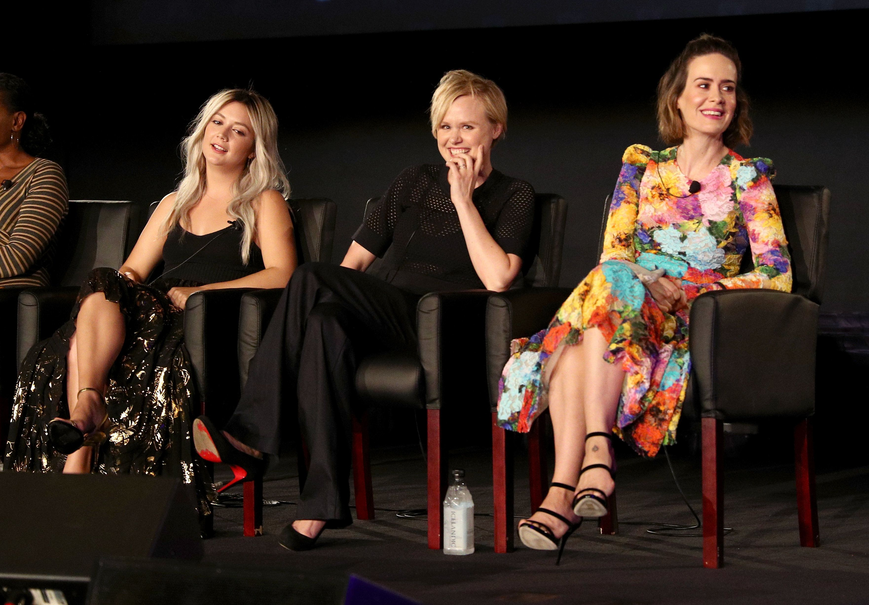 BEVERLY HILLS, CA - AUGUST 09:  (L-R) Actors Billie Lourd, Alison Pill, and Sarah Paulson of 'American Horror Story: Cult' speak onstage during the FX portion of the 2017 Summer Television Critics Association Press Tour at Fox Studios on August 9, 2017 in Los Angeles, California.  (Photo by Frederick M. Brown/Getty Images)