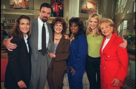 The first View lineup: Meredith Vieira, guest Tom Selleck, Joy Behar, Star Jones, Debbie Matenopoulos and Barbara Walters.