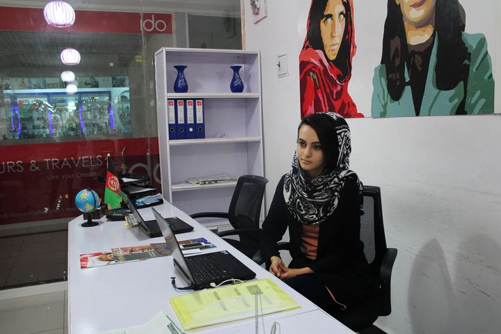 The employees of the Banoo travel agency are women, as are many of their customers.