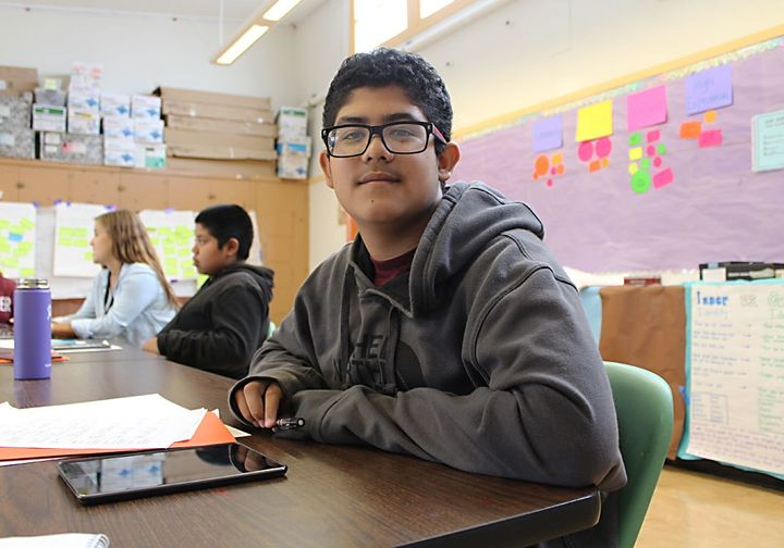 7th-grader Omar Quinitanilla is mapping out a path to a Ph.D. as part of summer learning at Aim High.