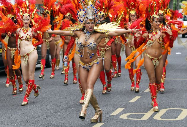 The Paraiso School of Samba take part in the Notting Hill Carnival,