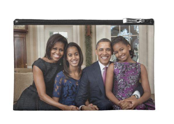 "Buy the <a href=""https://www.zazzle.com/president_barack_obama_family_travel_accessory_bag-223781891186630560"" target=""_blank"