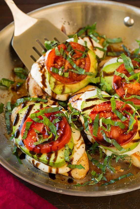 """<strong>Get the <a href=""""http://www.cookingclassy.com/avocado-caprese-skillet-chicken/"""" target=""""_blank"""">Avocado Caprese Skill"""