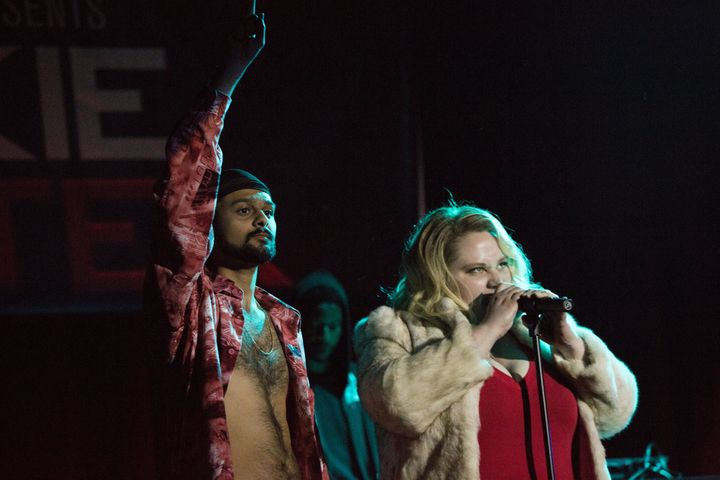 "Siddharth Dhananjay and Danielle Macdonald star in a scene from ""Patti Cake$."""