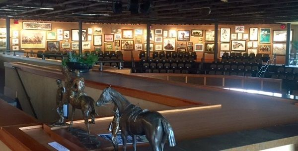 The art-filled view across the Fasig-Tipton pavilion