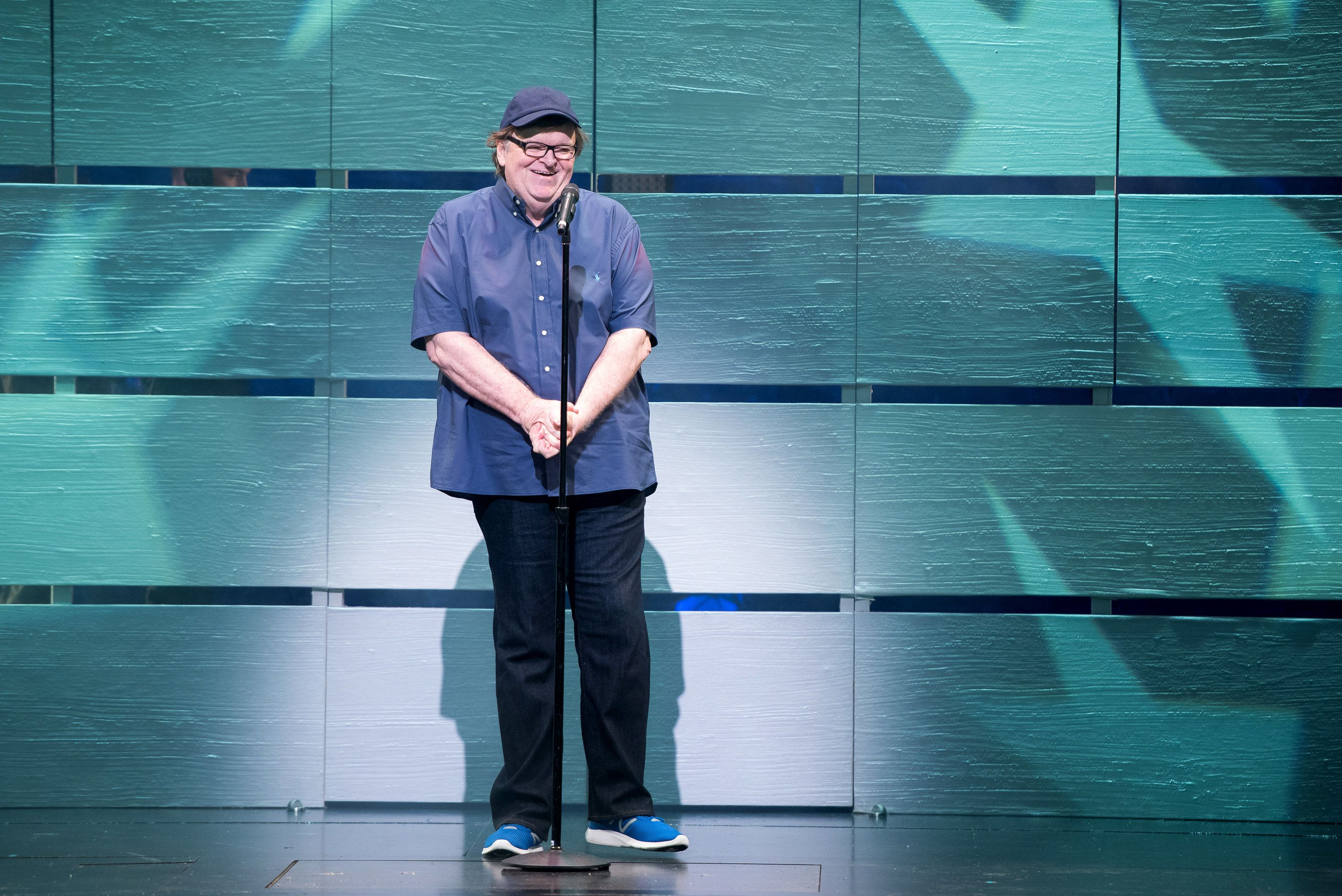 NEW YORK, NY - JULY 28:  Academy Award-winning filmmaker and political icon Michael Moore makes his broadway debut in 'The Terms of My Surrender' on July 28, 2017 in New York City.  (Photo by Mike Pont/Getty Images for DKC/O&M)