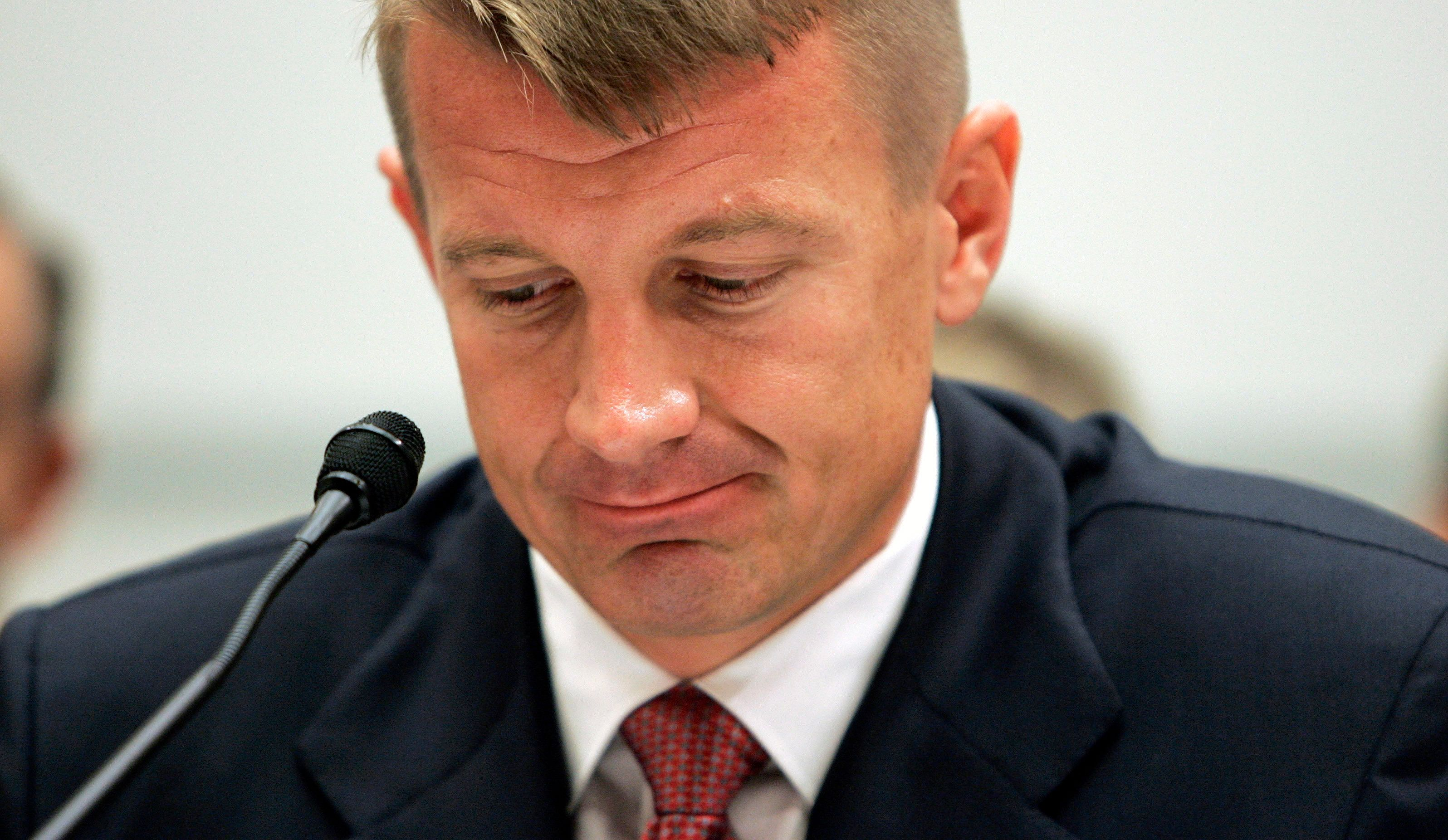 Blackwater Chief Executive Erik Prince testifies before the House Oversight and Government Reform Committee on security contracting in Iraq and Afghanistan on Capitol Hill in Washington, October 2, 2007. Blackwater, under investigation over deadly incidents in Iraq, defended its role on Tuesday, but lawmakers took aim at the company's actions in a Sept. 16 shooting in which 11 Iraqis were killed.        REUTERS/Larry Downing    (UNITED STATES)