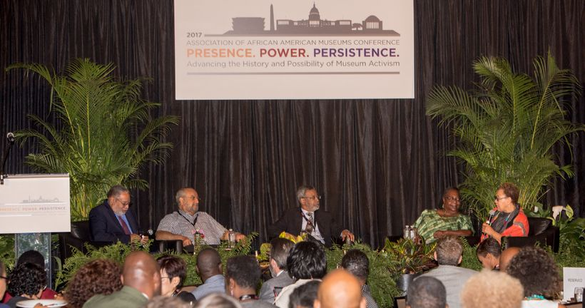 Seated Left to Right: Mr. Lonnie Bunch, Dr. John Fleming, Dr. Harry Robinson, Jr., Fath Davis Ruffins and Ms. Juanita Moore.
