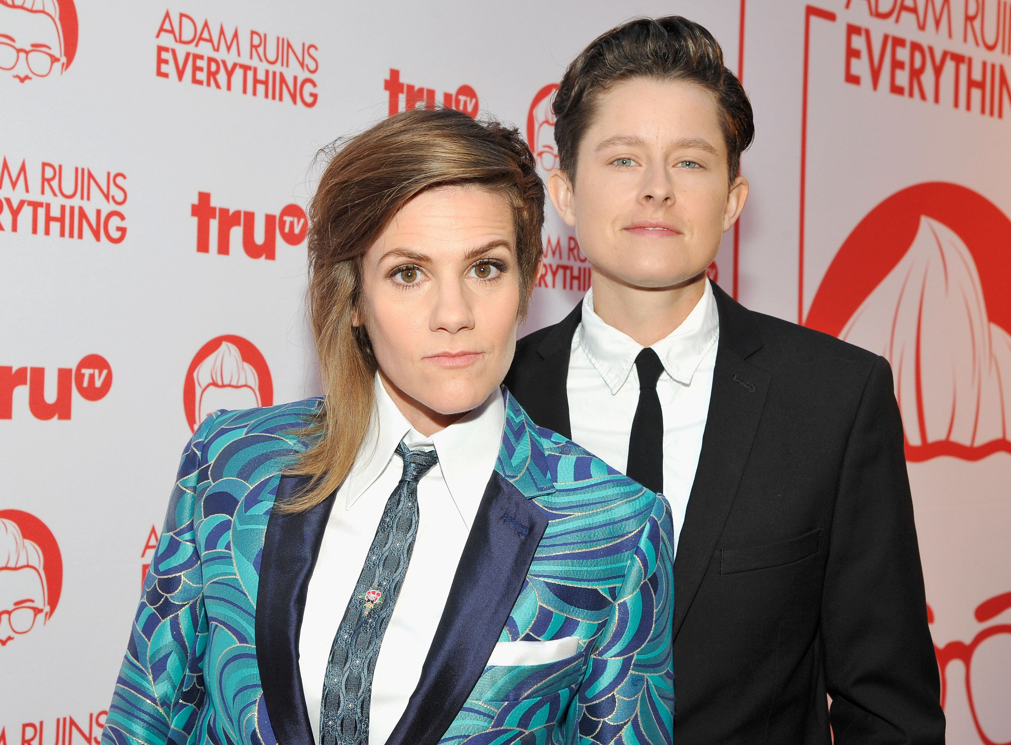 "HOLLYWOOD, CA - AUGUST 18: Actresses Cameron Esposito (L) and Rhea Butcher attend truTV's ""Adam Ruins Everything"" Premiere Screening Event on August 18 at The Redbury Hotel on August 18, 2016 in Hollywood, California. 26331_001  (Photo by John Sciulli/WireImage)"