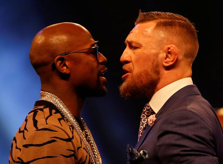 Boxer Floyd Mayweather (left) will face off against UFC fighter Conor McGregor Aug. 26 in Las Vegas.