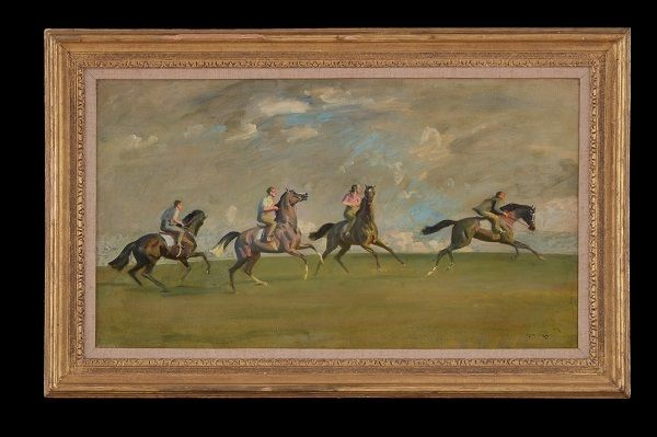 Sir Alfred Munnings (British, 1878-1959), '<strong><em>Early Morning Exercise, Newmarket</em></strong>', Oil on canvas, 15 1&