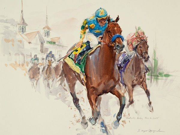 Sandra Oppegard (American, born 1941), '<strong><em>American Pharoah - Triple Crown</em></strong>' (Kentucky Derby), Watercol