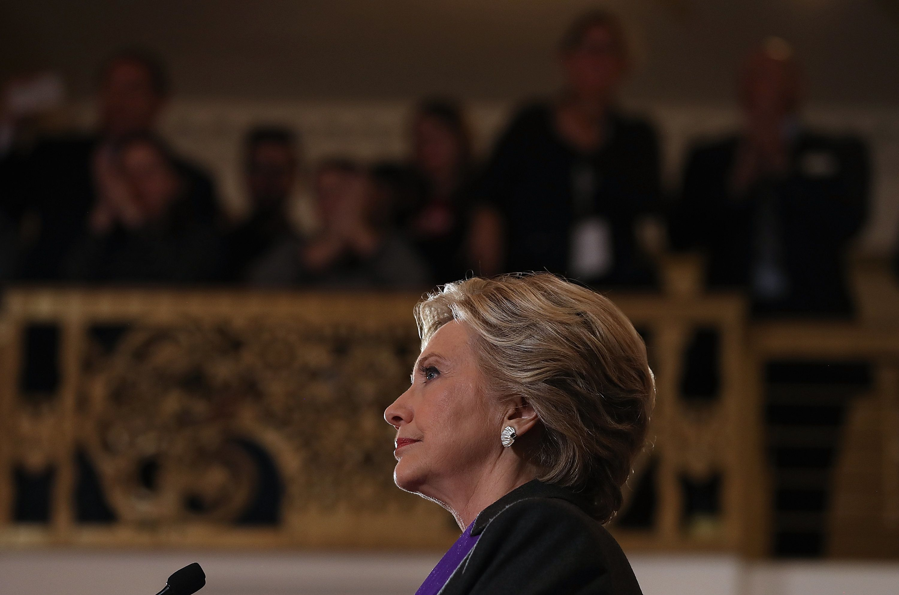 Former Secretary of State Hillary Clinton speaks during a news conference at the New Yorker Hotel on November 9, 2016 in New