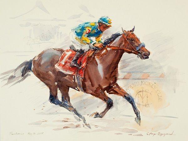 Sandra Oppegard (American, born 1941), '<strong><em>American Pharoah - Triple Crown</em></strong>' (Preakness), Watercolors,