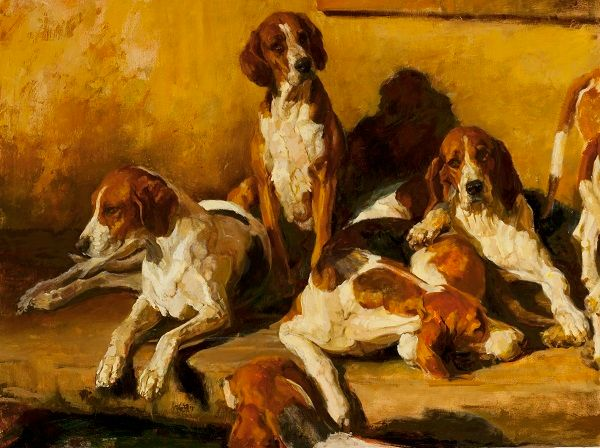 """Juli Kirk (American, born 1957), '<strong><em>Hounds in a Kennel</em></strong>', Oil on canvas, 30"""" x 40"""", $7,000"""