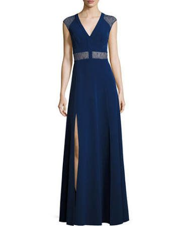 """Buy the <a href=""""http://www.neimanmarcus.com/Aidan-by-Aidan-Mattox-V-Neck-Cap-Sleeve-Lace-Trim-Crepe-Gown-Navy/prod201200445/"""