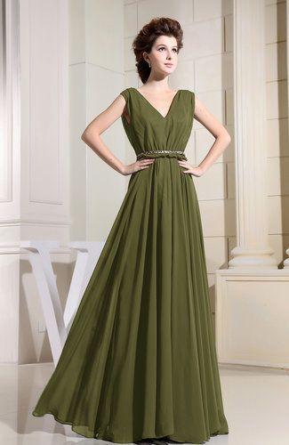 "Buy the <a href=""http://www.uwdress.com/p/casual-v-neck-sleeveless-chiffon-pleated-bridesmaid-dresses-21623/olive-green.html?"