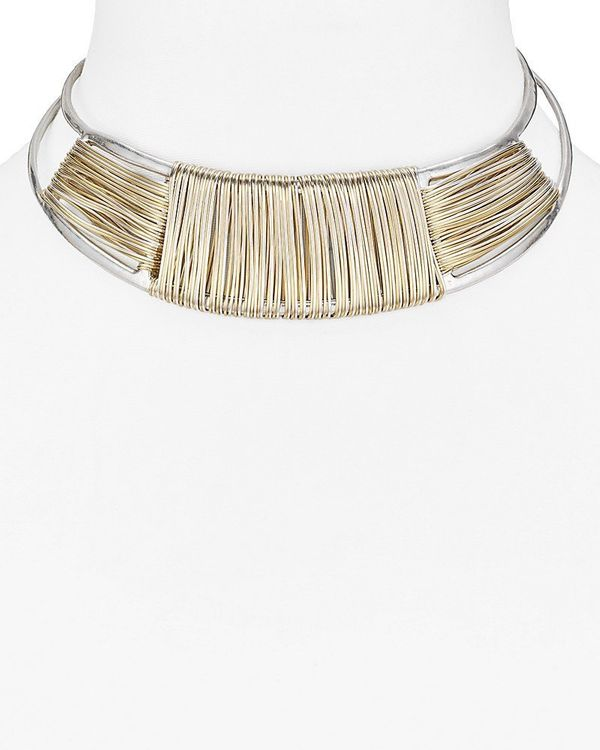 """Buy the <a href=""""https://www.bloomingdales.com/shop/product/robert-lee-morris-soho-two-tone-collar-necklace-15?ID=2588221&amp"""