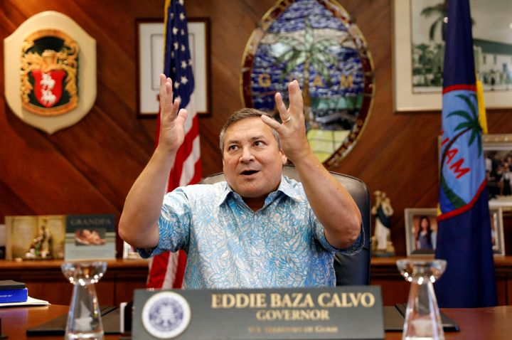 Guam Governor Eddie Calvo speaks during an interview with Reuters at the government complex on the island .