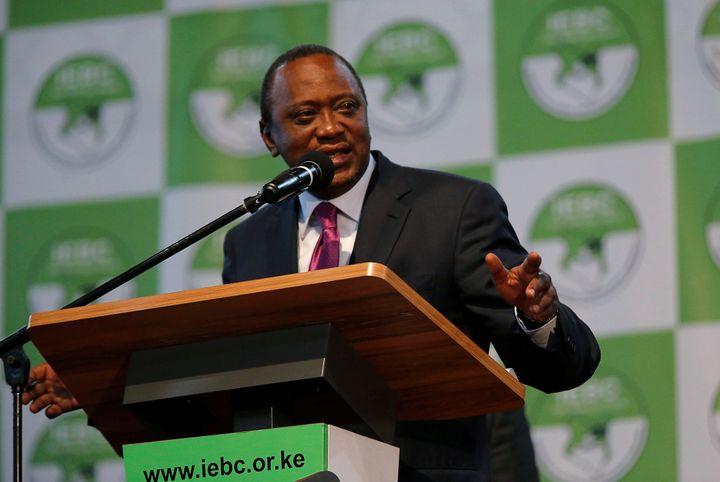 Incumbent President Uhuru Kenyatta speaks after he was announced winner of the presidential election in Nairobi, Kenya, on Au