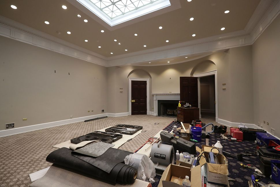 The Roosevelt Room acts as a temporary storage space for tools and materials.